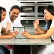 Asian Family Using Wireless Tablet  for Online Webchat — Stock Video