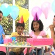 Young Ethnic Girl Enjoying Birthday Celebrations — Stock Video