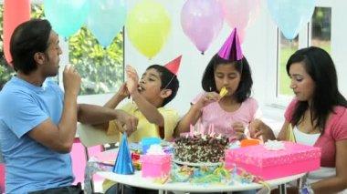 Young Ethnic Girl Enjoying Birthday Celebrations — Stock Video #23260042