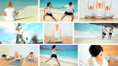 Montage Images of Exercise & Yoga — Stock Video