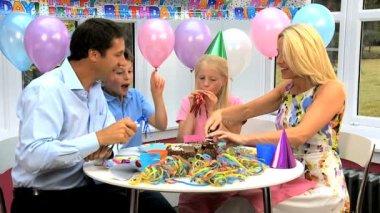 Young Caucasian Children Enjoying Birthday Celebrations — Stock Video