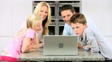 Caucasian Family Having Online Webchat at Home — Stock Video