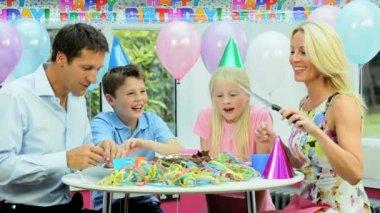 Attractive Caucasian Family Cutting Birthday Cake — Stock Video