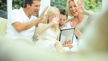 Caucasian Family Using Online Video Chat with Relatives — Stock Video