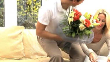Attractive Female Receiving Birthday Flowers — Stock Video