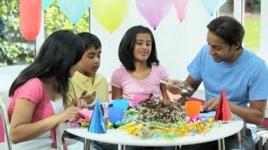 Asian Family Enjoying Delicious Birthday Cake — Stock Video #23262980