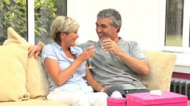 Mature Couple Celebrating a Birthday with Champagne — Stock Video