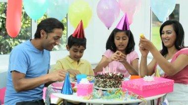 Young Ethnic Girl Enjoying Birthday Celebrations — Stock Video #23263438