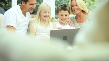 Young Caucasian Family Using Online Webchat — Stock Video