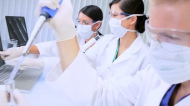 Three Assistants in Medical Research Laboratory — Stock Video