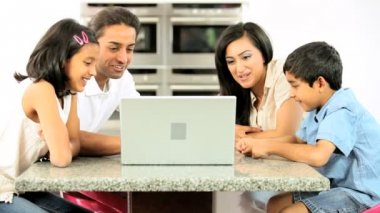 Asian Family Using Online Video Chat with Relatives — Stock Video