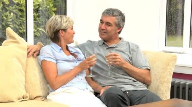 Mature Couple Celebrating with Champagne — Stock Video