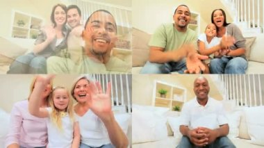 Montage of Multi Ethnic Using Online Video Chat — Stock Video