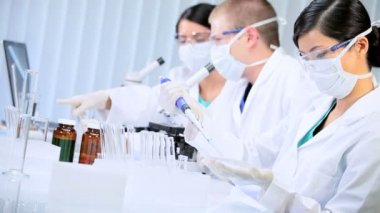 Three Student Doctors Working in Research Laboratory — Stock Video