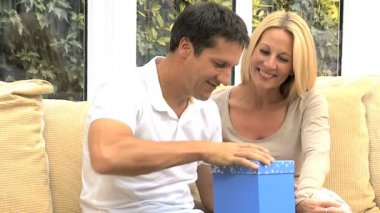 Attractive Husband Opening Birthday Gift — Stock Video