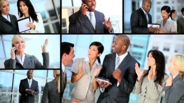 Montaje de equipo multi exitosos negocios étnicos — Vídeo de stock