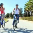 Young Females Keeping Fit and Healthy Cycling — Stock Video #23334142