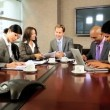 Stock Video: Five Multi Ethnic Business in Team Meeting