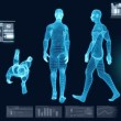 Stock Video: Digital Motion Graphic of Virtual Walking Man
