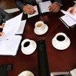 Overhead Shot of Multi Ethnic Medical Executives in Boardroom — Stock Video #23334768