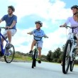 Healthy Caucasian Family Cycling Together — Stock Video