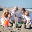 Happy Children and Parents Playing in the Sand — Vídeo Stock