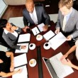 Overhead View of Modern Multi Ethnic Business Team Meeting — Stock Video #23335234