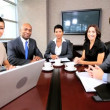 Multi Ethnic Business Team Using Online Video Uplink — Stock Video