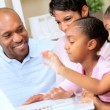 African American Family Using Online Web Chat — Stock Video