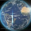CG Graphic of Revolving Earth and Global Finance Communication - Stock Photo