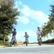 Healthy CaucasiFamily Cycling Together — Stock Video #23335606