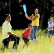 Young African American Family Playing Baseball in Park — Stock Video #23335700