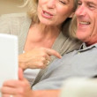 Senior Couple Using Laptop for Online Web Chat — ストックビデオ
