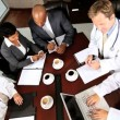 Overhead Look at Medical Executive Boardroom Meeting — Stock Video #23336604