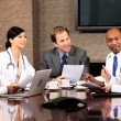 Medical Executive Boardroom Meeting with Financial Advisors — Stock Video #23336670