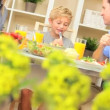 Young Caucasian Family Eating Healthy Lunch Together - Stock Photo