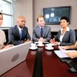 Multi Ethnic Business Team in Video Uplink Conference — Stock Video