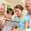 Grandparents and Grandchildren with Wireless Tablet — Stock Video
