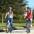 Caucasian Female Friends Cycling on Suburban Roads — Stock Video