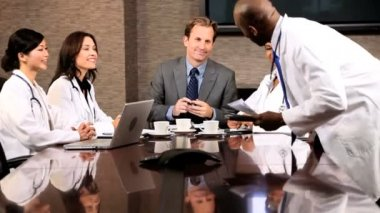Multi Ethnic Medical Executive Boardroom Meeting — Stock Video