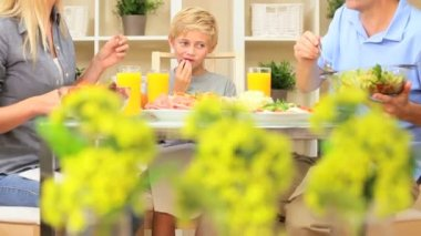 Attractive Caucasian Family Eating Together — Stock Video