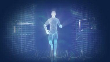 Gráfico de movimiento digital de hombre corriente virtual — Vídeo de stock