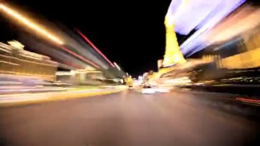 Timelapse Point of View of the Streets at Night in Las Vegas — Stock Video