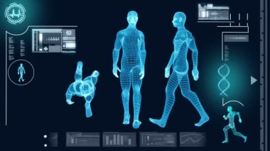 Digital Motion Graphic of Virtual Walking Man — Stock Video