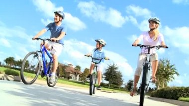 Healthy Young Family Enjoying Cycling Together — Stock Video