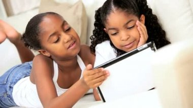 Ethnic Children with Modern Wireless Tablet — Stock Video