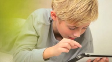 Young Boy with Wireless Tablet — Stock Video
