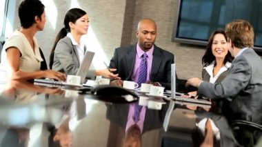 Ambitious Multi Ethnic Business Team in Boardroom — Stock Video #23336354