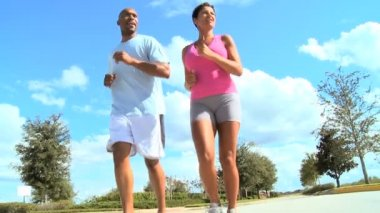 Healthy Ethnic Couple Jogging Exercise — Stock Video