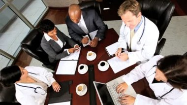 Overhead Look at Medical Executive Boardroom Meeting — Stock Video